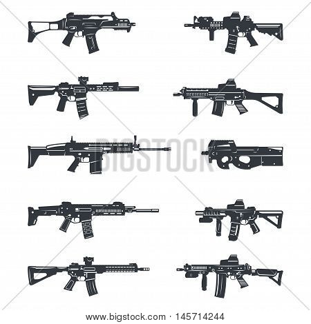 Modern illustration of various assault rifles. Vector EPS10
