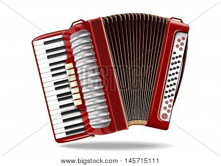 Classical bayan (accordion), harmonic, jew's-harp. Musical instrument. Realistic vector illustration isolated on white background