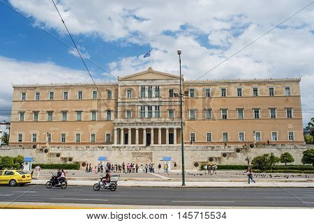 ATHENS GREECE - APRIL 25 2016:Greek parliament in Athens