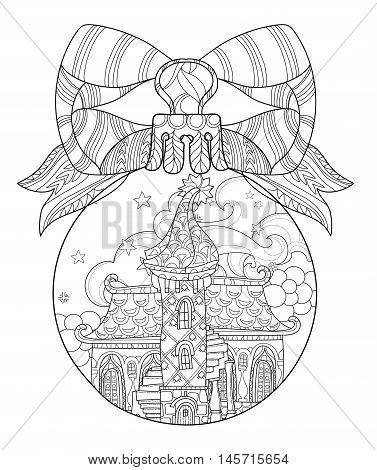 Vector cute fairy tale town doodle in christmas fir tree ball.Hand drawn line illustration.Sketch for postcard or print or coloring adult anti stress book.Boho zen art style.