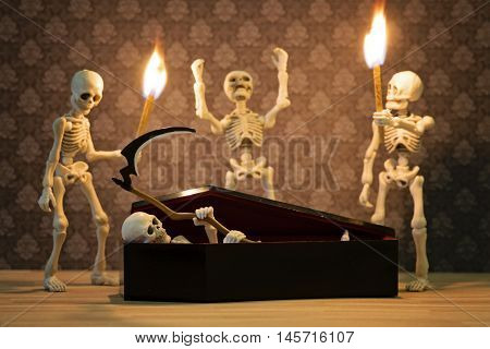Three skeletons doing the rising Death ritual