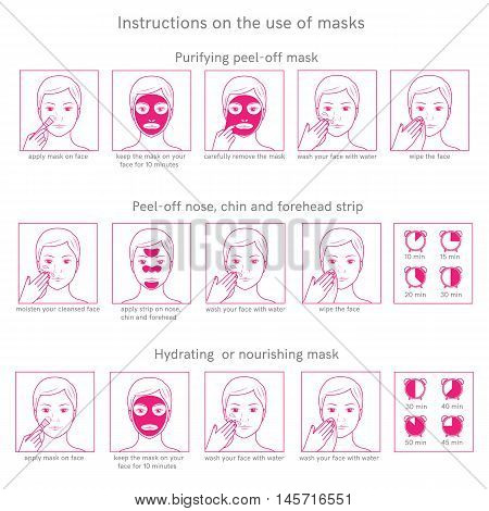 Three instructions for use face masks purifying peel-off mask, peel-off strip, hydrating mask.Template with place for your text.Line style.Vector illustration.