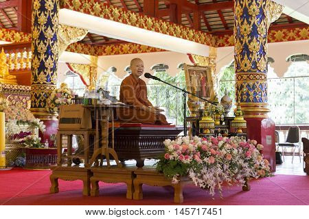 CHIANG MAI, THAILAND - AUGUST 28: buddhist monk preach people in Suandok temple in Chiang Mai, Thailand on August 28, 2016.
