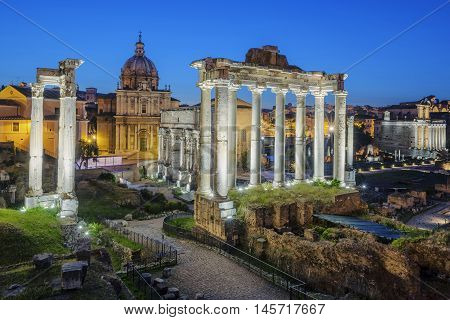 Famous Ruins of Forum Romanum on Capitolium hill in Rome Italy