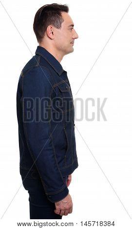 Handsome Casual Man Standing In Denim Jacket