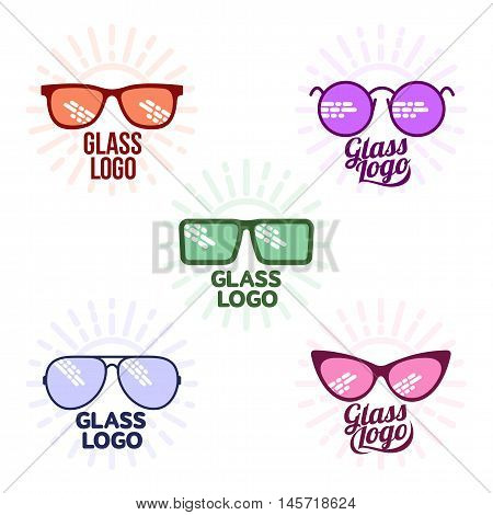 Glasses logo set, vector illustration isolated on white background. Round, square, aviator, cat eye glasses icons, colorful logo collection. Retro and modern style eyeglasses logo set