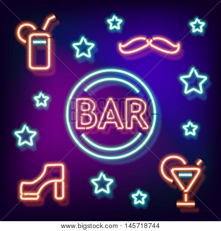 Neon Bar symbols. Retro label bar shoe, a mustache and a cocktail. Burning a pointer to a black wall in a club, bar or cafe. Design element for your ad, signs, posters, banners. illustration