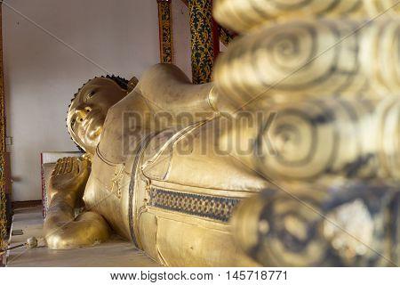 Golden Reclining Buddha Statue Image