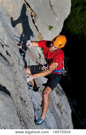 Rock climbing in National Park Paklenica, Croatia.