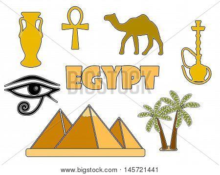 Egyptian symbols isolated on white background. Egyptian badges. Vector illustration.