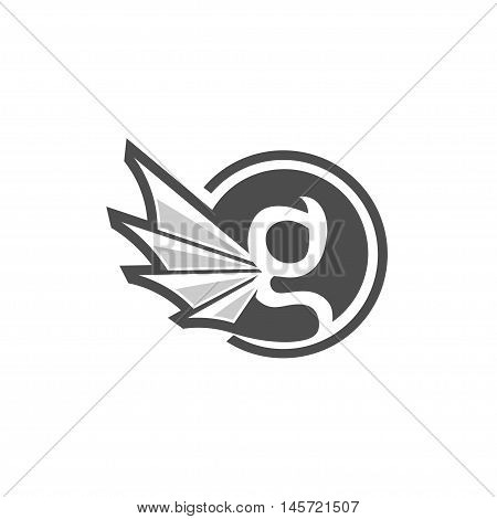 letter G circle with gargoyle wing style, classy letter G with wing
