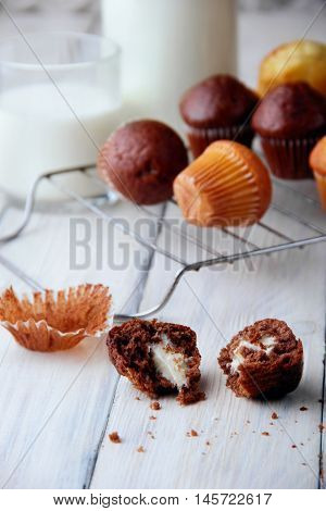 Biten Muffins Chocolate .different Mini Muffins On Grille Defosude .free Sapce.closeup.selective Foc