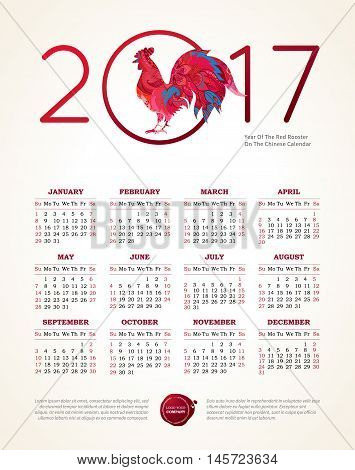 Red Rooster Symbol Of 2017, Vector Calendar.