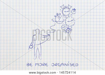Person With Lasso Collecting Falling Clocks, Time Management Concept