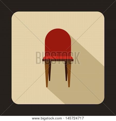 Red wooden chair icon in flat style on a beige background vector illustration