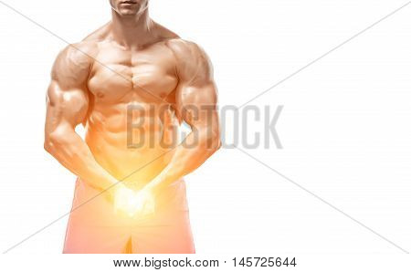 Strong Athletic Man showing muscular body and sixpack abs isolated white background. with sun flare. Close up, copyspace