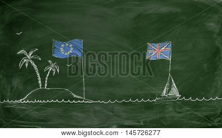 Chalk drawing of a ship with British flag swimming away from an island with European Union flag. Brexit. British withdrawal. Euroscepticism.