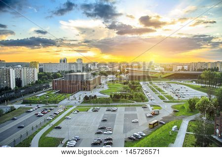 Amazing sunset over modern district of Katowice