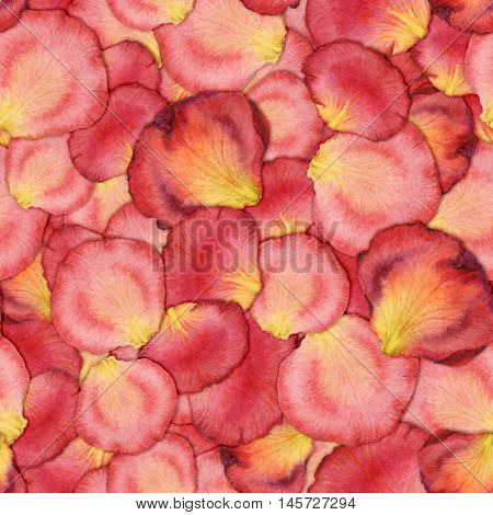 Watercolor seamless pattern of pink rose petals hand painted watercolor illustration design for fabric textile wrapping paper card invitation wallpaper web design.