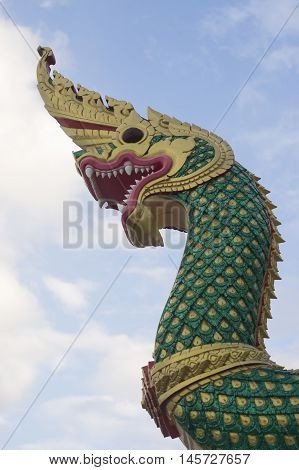 King of Nagas serpent in Thailand and blue background