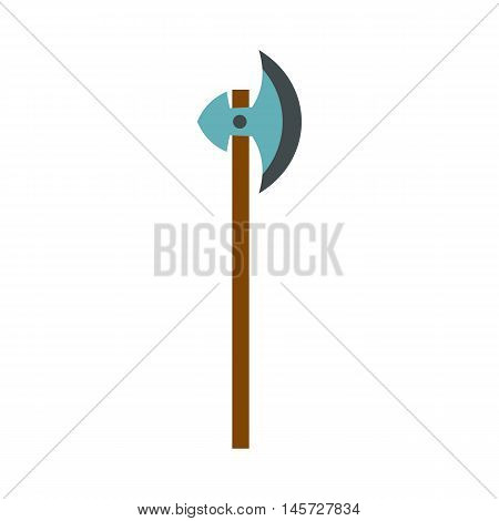 Medieval battle ax icon in flat style on a white background vector illustration