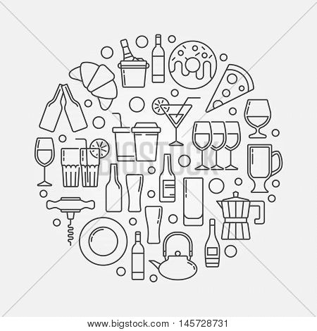 Restaurant and cafe illustration. Vector round cafe and bar symbol made with thin line icons