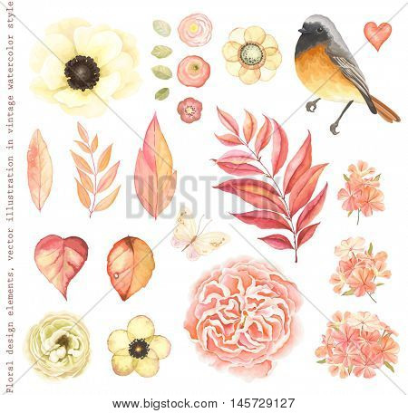 Collection vector flowers anemone, English rose, phlox, ranunculus, Redstart bird, butterfly, branches and  autumn leaves. Vector floral illustration in vintage style.