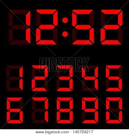 Red clock digits illustration on black