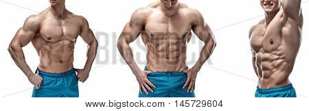 Strong Athletic Man showing muscular body and sixpack abs isolated on white background. collage of three photo