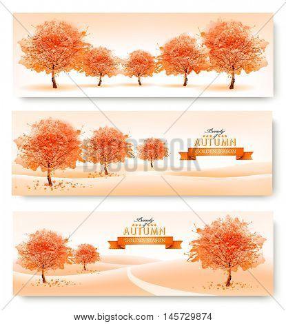 Three landscape autumn banners. Vector.
