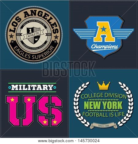 Sport athletic champions college baseball football logo emblem collection. Vector Graphics and typography t-shirt design for apparel. Isolated very easy to use.