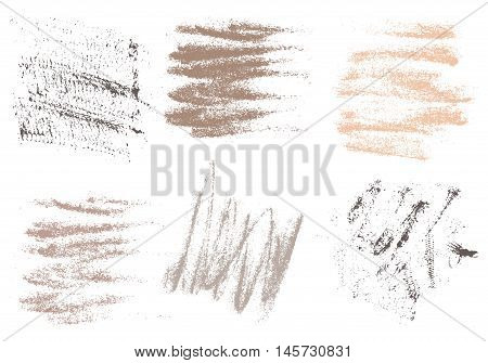 Vector charcoal hand drawing abstract on white background set chalk brush stroke design art pastel neutrals pale color grunge texture pattern drawing chalk on chalkboard