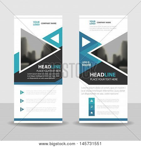 Blue triangle roll up business brochure flyer banner design cover presentation abstract geometric background modern publication x-banner and flag-banner layout in rectangle size.