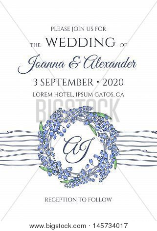 Wedding invitation with wreath of blooming flowers. Hand drawn monogram background with muscari in a simple design