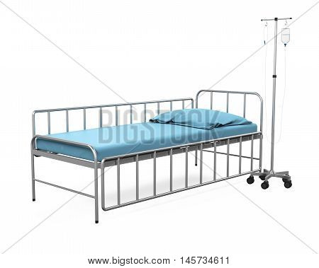 Hospital Bed isolated on white background. 3D render