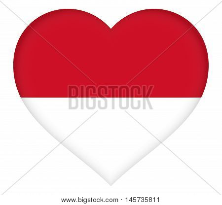 Illustration of the national flag of Monaco shaped like a heart
