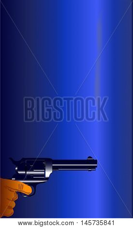 A smoking gun set on a dark blue background