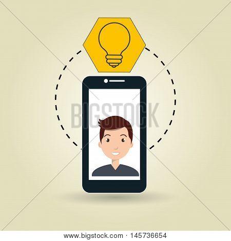 cellphone man tools apps vector illustration eps 10