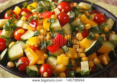 Low Calorie Salad Of Corn, Tomatoes, Cucumbers And Pepper Close-up. Horizontal