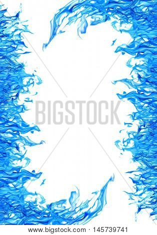 blue flame frame isolated on white background