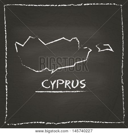 Cyprus Outline Vector Map Hand Drawn With Chalk On A Blackboard. Chalkboard Scribble In Childish Sty