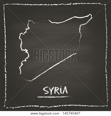 Syrian Arab Republic Outline Vector Map Hand Drawn With Chalk On A Blackboard. Chalkboard Scribble I