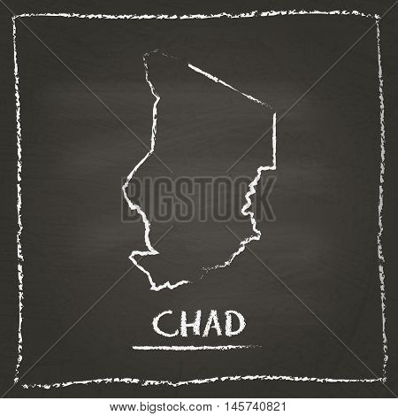 Chad Outline Vector Map Hand Drawn With Chalk On A Blackboard. Chalkboard Scribble In Childish Style