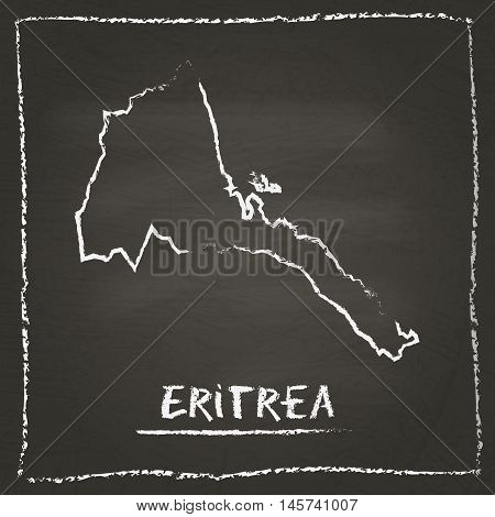 Eritrea Outline Vector Map Hand Drawn With Chalk On A Blackboard. Chalkboard Scribble In Childish St