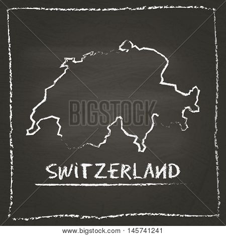 Switzerland Outline Vector Map Hand Drawn With Chalk On A Blackboard. Chalkboard Scribble In Childis