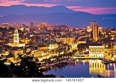 City of Split aerial view at dawn waterfront and Diocletian palace Dalmatia Croatia