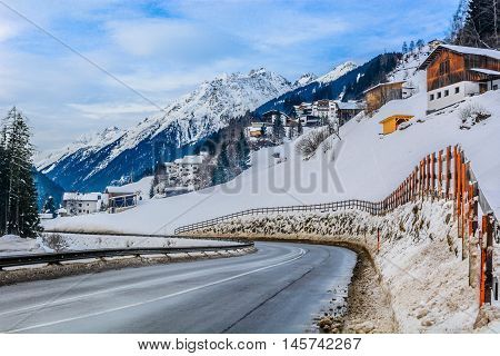 Road in Ischgl, one of famous austrian skii resorts, marble landscape in winter time, Austra Ischgl.