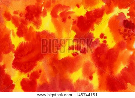 Watercolor abstract background with red and yellow colors. Fire. Autumn