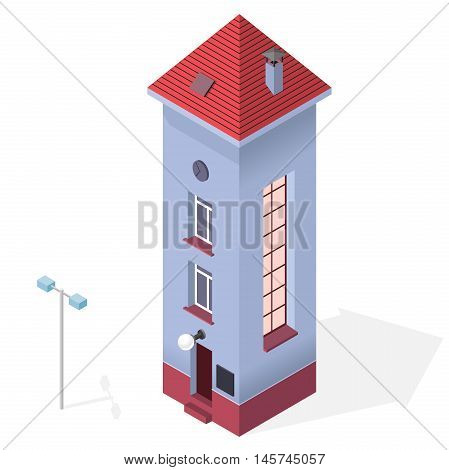 Tall and slim house. Isometric blue building with red roof. Funny architecture. High and slender building with windows, door and chimney. Towering and svelte house. Flatten isolated master vector.
