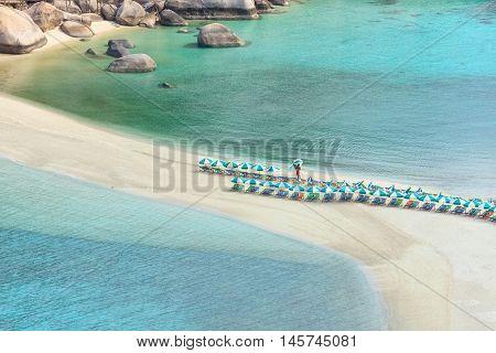 Empty morning Koh Nang Yuan island beach with cristal clear water